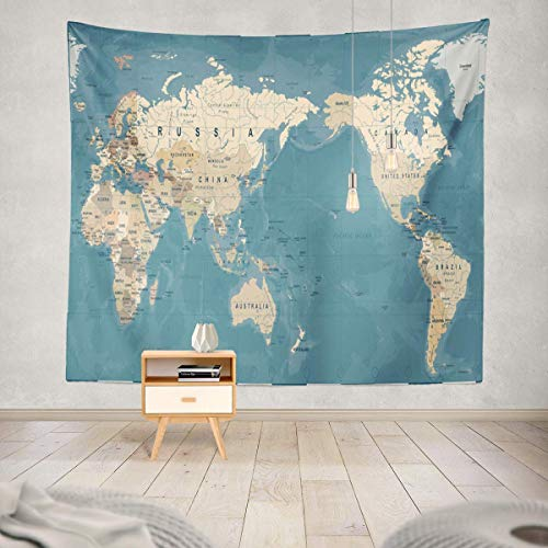 Soopat Tapestry Polyester Fabric World Map Vintage Old Retro Asia in Center Wall Hanging Tapestry Decorations Bedroom Living Room Dorm 60X60 Inch (Blue China Tapestry)