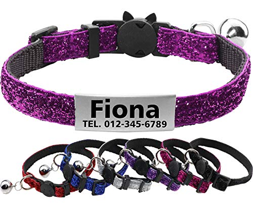 FunTags Reflective Personalized Breakaway Cat Collar with Bell, Sturdy Nylon Fabric, Safty Buckle, Adjustable ID Collar with Slide tag for Kitty and - Adjustable Collar Kitty