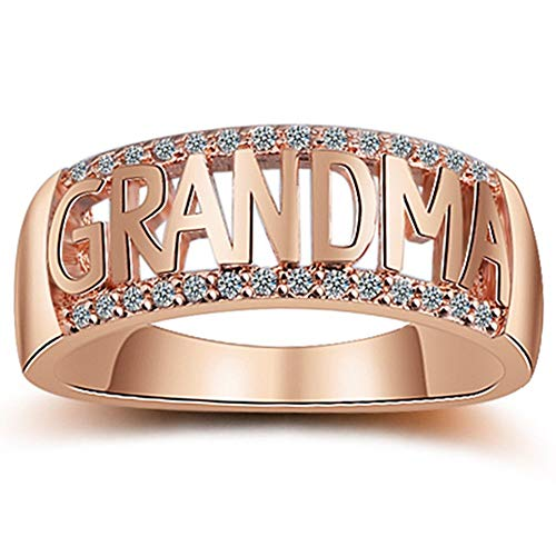 Rose Gold Grandma Nana Ring Grandmother Birthday (Rose Gold, 5) ()