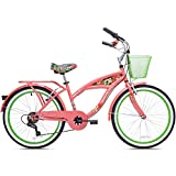 """24"""" Girls Kent Multi 7 Speed Cruiser Bike for Adult, Sturdy Steel Frame Bicycle with Front Basket and Parrot Horn, Coral/Green"""