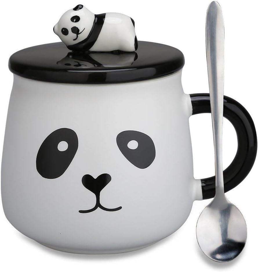 Taza de ceramica con tapa para infusiones con cara de panda, color blanco y negro
