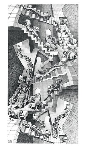 Picture Peddler House of Stairs M. C. Escher Fantasy Poster Print 17.75x31.25
