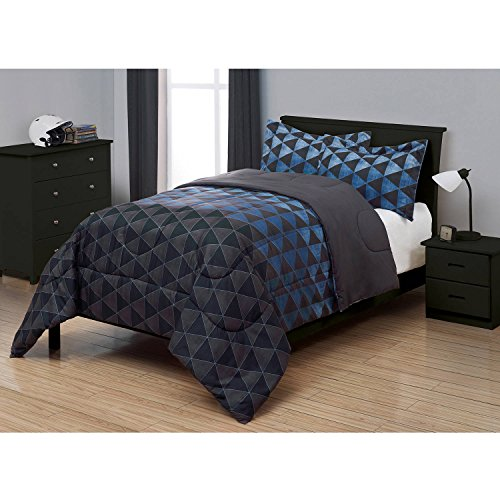 Durable, Masculine Easy Care Machine Washable 2 Piece BLUE / DARK GRAY AND BLACK Kids Next Generation Bedding Comforter Set, TWIN (Generation Set Next)