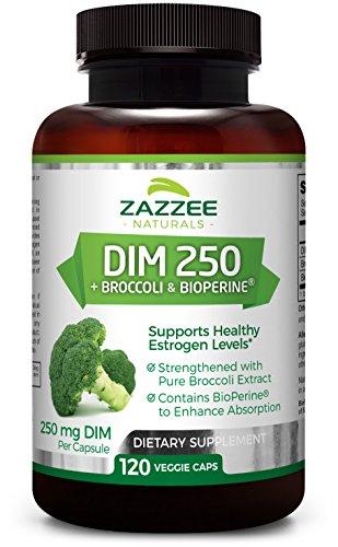 Zazzee DIM 250 mg, 120 Veggie Caps, Plus 10 mg BioPerine, 4 Month Supply, Plus Pure Broccoli Extract, Vegan and Non-GMO, 250 mg of DIM per Capsule