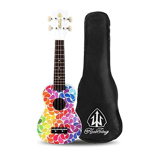 Honsing Soprano Ukulele Colorful Floral petal Painting Hawaii kids Guitar 21 inch Gift for Beginner matte finish - Image 1