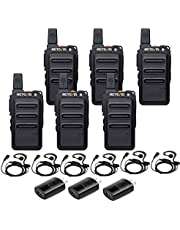 Retevis RT19 Walkie Talkie Rechargeable, 2 Way Radios Long Range, Hands-free Small Two Way Radio with Earpiece Headsets (6 Pack)