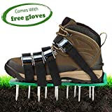 Hongsen Lawn Aerator Shoes Lawn Spikes Shoes 4 Adjustable Straps and Metal Buckles Heavy Duty Lawn Spiked Sandals for Aerating Your Lawn or Yard with Gloves