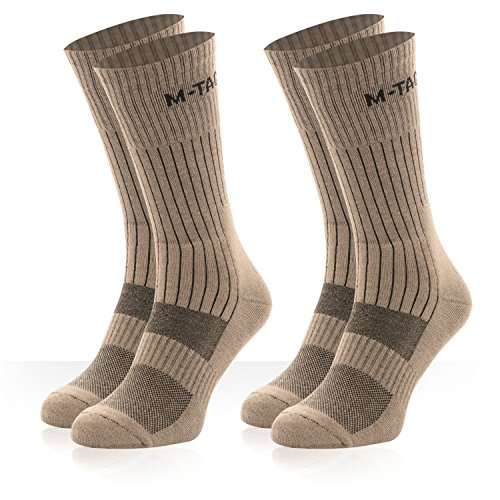 (M-Tac Tactical Crew Socks Military Outdoor Boot Socks 2 Pair Pack (Coyote Tan 2 Pairs, Medium))