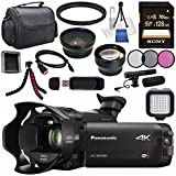 Panasonic HC-WXF991 HC-WXF991K 4K Ultra HD Camcorder with Twin Camera + Sony 128GB SDXC Card + Flexible Tripod + Carrying Case + Memory Card Wallet + Card Reader + Mini HDMI Cable + LED Light Bundle