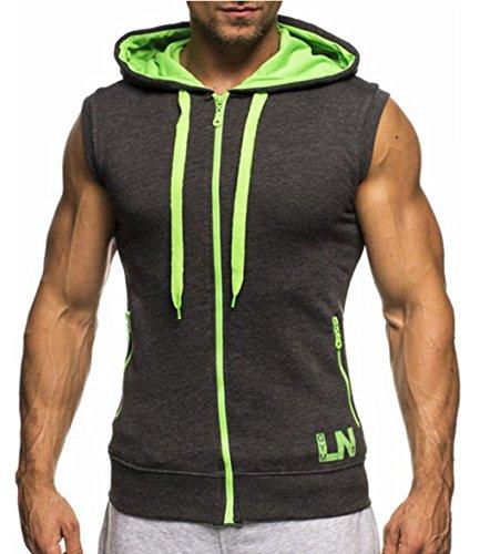 LemonGirl Men's Bodybuilding Sleeveless Hoodie Gym Tank (Design Sleeveless)