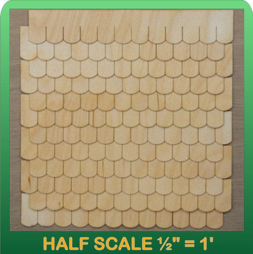 "Greenleaf Doll Houses 1/2"" Scale Miniature Fishscale Shingle Strips Half Scale"
