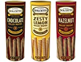 100 calorie ice cream - Dolcetto Premium Cream Filled Rolled Wafers Gourmet Cookies 3 Flavor Variety Bundle, (1) each: Chocolate, Zesty Lemon, Hazelnut (3 Ounces)