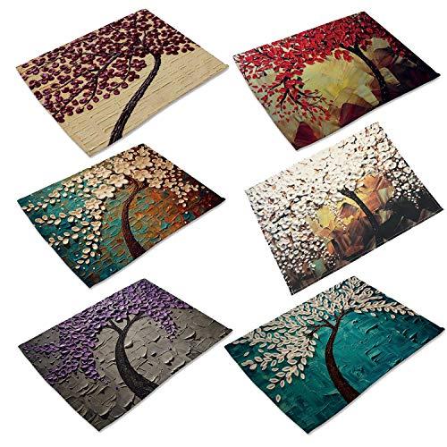 (Oil Painting Cotton Linen Placemats Washable Non-Slip Table Place Mat for Home Decorative Set of 6)