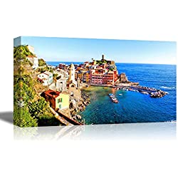 "Canvas Prints Wall Art - Beautiful Scenery/Landscape of Panoramic Aerial View of a Cinque Terre Village Along the Coast of Italy | Modern Wall Decor/ Home Decor - 24"" x 48"""