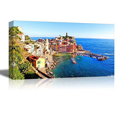Beautiful Scenery Landscape of Panoramic Aerial View of a Cinque Terre Village Along the Coast of Italy Wall Decor