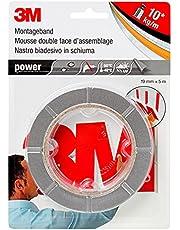 3M Power Monteringstejp, extra stark dubbelsidig tejp för inomhus- och utomhusbruk, powerbond ultra stark, 19 mm x 5 m x 0,8 mm, grå (1-pack)
