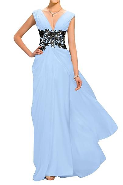 sunvary gasa y appliques cuello en V Dama De Madre de la novia Vestidos Azul azul