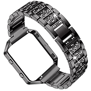 ACBEE Fitbit Blaze Metal Band with Bling Rhinestone,Stainless Steel Frame and Operation Manual Metal Repalcement Accessory Strap/Watch Bands/Wristband …