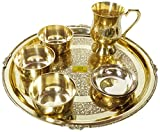 SHIV SHAKTI ARTS Brass Thali Set 6 Pcs 3 Brass Bowls1 Mug 1 Big Plate 1 Rice Plate Restaurant Ware Home Hotel