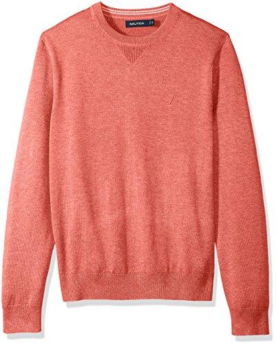 Washed Crewneck Sweater (Nautica Men's Light Weight Crew Neck Solid Sweater, Washed Red Heather, Medium)