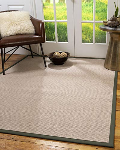 NaturalAreaRugs 100%, Natural Fiber Handmade Blair, Beige Rose Sisal Rug 8' x 10' Oval Green Border