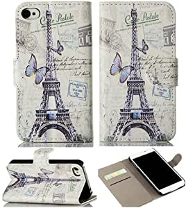 Gotida Eiffel Tower Classical Wallet Leather Case Protector with Credit ID Cards Holders & Stand leather case For iphone 5 5g 5s 06
