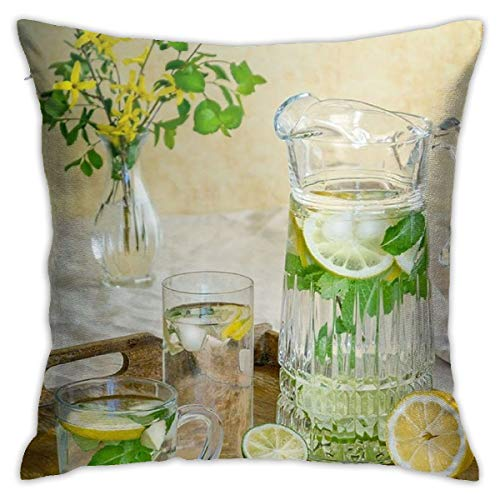 Suture Removal Tray 1 Case - Osvbs Lemon Juice in Pitcher Beside Glass Up and Sliced Lemons On Serving Tray Pillowcase Silk Customized Double Sided 18 × 18 Inch for Sofa Bed (only Pillowcase, No Pillow)