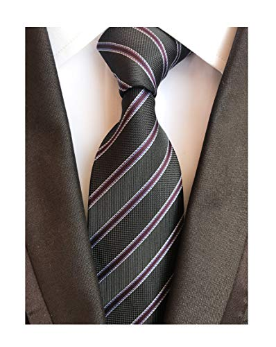 - Mesn Narrow Stripe Black Purple Silk Ties Regular Soft Business Boys Son Necktie