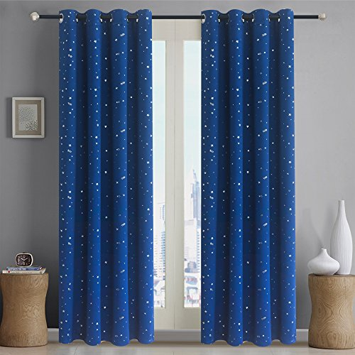 Romantic Starry Sky Creative Blackout Window Curtains for Kids Room/girls room/boys room Space Inspired Night Sky Twinkle Star Kid's Room Draperies by Alice Brown W52 x L84-Inch 1 Panel Navy Blue (Furniture Alice)