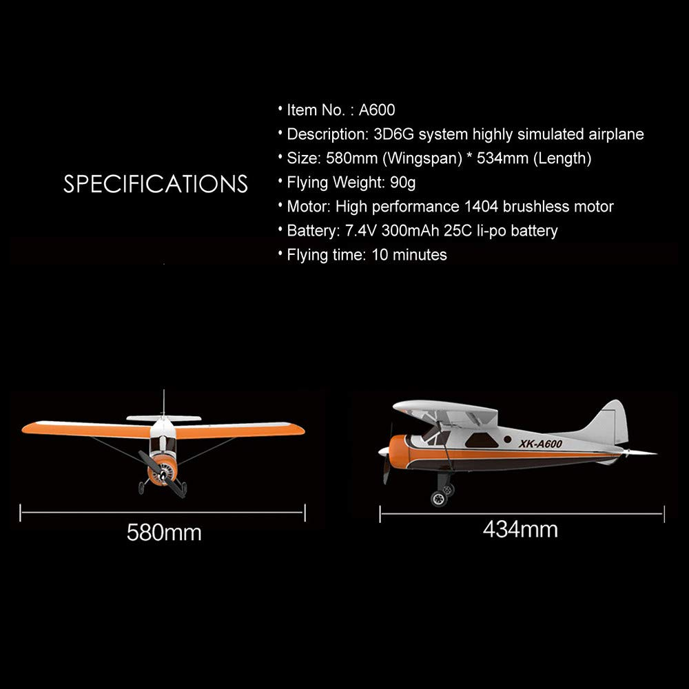 COLOR-LILIJ XK DHC-2 A600 4CH 2.4G Brushless Motor 3D6G RC Airplane 6 Axis Glider,High efficient brushless Motor,Suit for Beginner. by COLOR-LILIJ (Image #9)