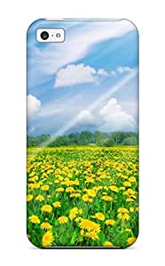 Slim Fit Tpu Protector Shock Absorbent Bumper Sunshine Over Dandelion Field Digital Case For Iphone 5c wangjiang maoyi