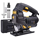 Jigsaw, TECCPO 6.5 Amp 3000SPM Jig Saw with Laser Guide, 6pcs Blades, Carrying Case, 78.74 Inches Cord Length, Scale Ruler, Pure Copper Motor, Variable Speed Dial (1-6) - TAJS01P