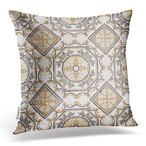 Emvency Throw Pillow Cover Print 16 x 16 Inch Square Zipper Floor Tiles Porcelain Ceramic Geometric Pattern for and Marble Polyester Home Sofa Decorative Case