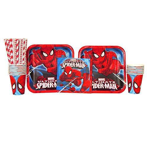 Spiderman Party Pack for 16 Guests: Straws, Plates, Napkins, and Cups