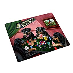 Home of 4 Rottweilers Dogs Playing Poker Large Stickers Sheet of 12