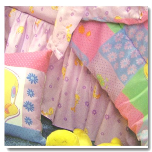 Tweety Bird Tweety Garden Full Bedskirt