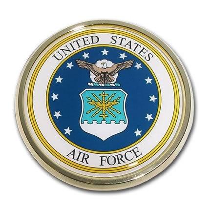 US Air Force Seal USAF Round Military Chrome Auto Emblem ()