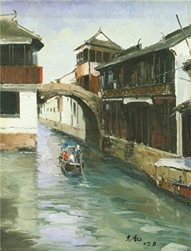 Oil Painting 'Chinese Waterside Town', 24 x 32 inch / 61 x 80 cm , on High Definition HD canvas prints is for Gifts And Bath Room, Foyer And Kids - Sports Coupon Flatiron