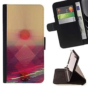 For Sony Xperia Z3 Compact / Z3 Mini (Not Z3) Case , Coucher de soleil Été Mer Orange Rose Nature - la tarjeta de Crédito Slots PU Funda de cuero Monedero caso cubierta de piel