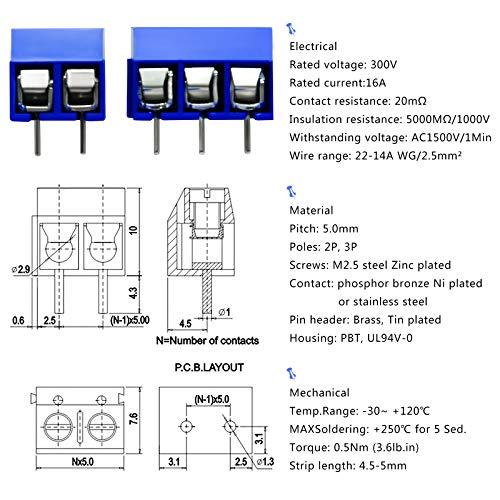 10 x TruConnect 3 Way 16A 300V Black Interlocking Terminal Block PCB Arduino