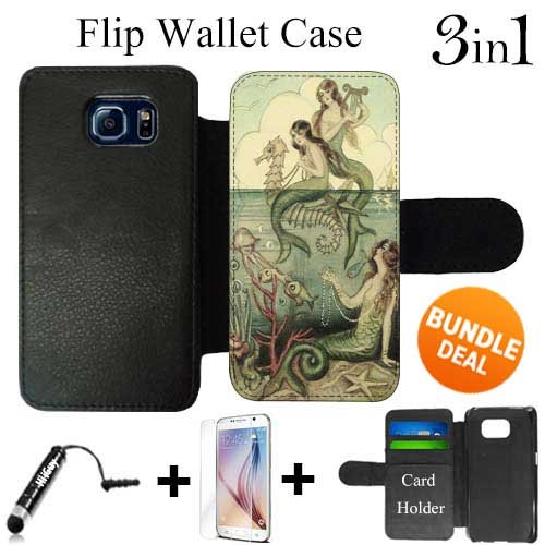 - Vintage Mermaid Seahorse Illustration Custom Galaxy S6 Cases Flip Wallet Case,Bundle 3in1 Comes with HD Tempered Glass/Universal Stylus Pen by innosub