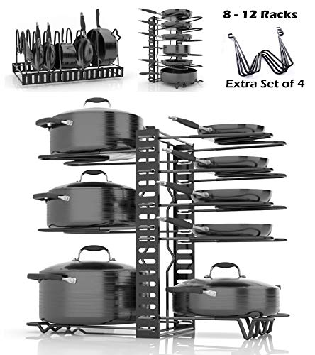 SKATCO Pan Organizer Rack - Metal Pots and Pans Organizer - Pantry & Kitchen Cabinet Organizer - Heavy Duty Lids, Dishes, Pot and Pan Organizer - Horizontal & Vertical Pot Rack with 3 Use Methods