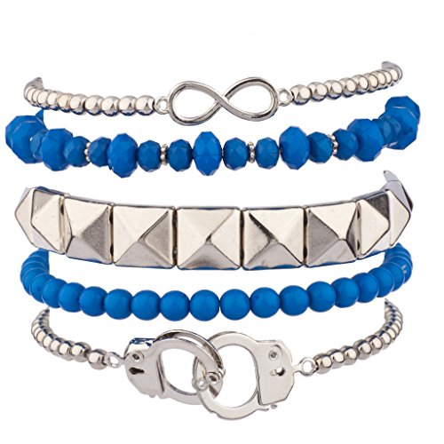 [Lux Accessories Handcuff Hand Cuff Blue Bead Pyramid Infinity Stretch Arm Candy Bracelet Set] (Arm Candy Costume)