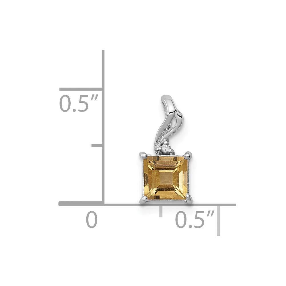 12mm x 5mm Sonia Jewels 925 Sterling Silver Diamond /& Golden Yellow Orange Simulated Citrine Square Pendant