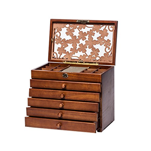 Clover Carved 6 Layer Wooden/Real Wood Jewelry Box and Lock Archaize