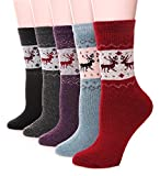 EBMORE Women Fashion Printed Thick Winter Casual Soft Warm Crew Socks 5-Pack