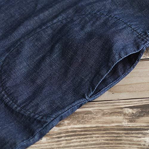 Oscuro Toogoo Mangas Azul Laterales Inferior Elástico Espagueti Sólido Tobillo Pantalones Bolsillos M El Mujer Suletos De Pierna Correas Hasta Mezclilla Ancha Mono Sin 1UArRq1