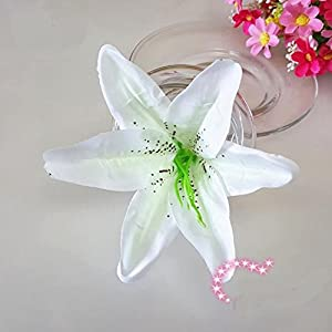 "Artificial Silk Flower Head Lilies 5.5"" Tiger Lily Flower Head Wedding Home Party Garden Decoration,or Bridal Bouquet Wreath Headwear Clip DIY Accessories (20, milk white) 111"