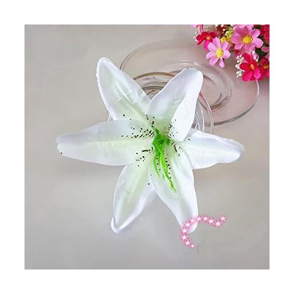 Artificial Silk Flower Head Lilies 5.5″ Tiger Lily Flower Head Wedding Home Party Garden Decoration,or Bridal Bouquet Wreath Headwear Clip DIY Accessories (20, Milk White)