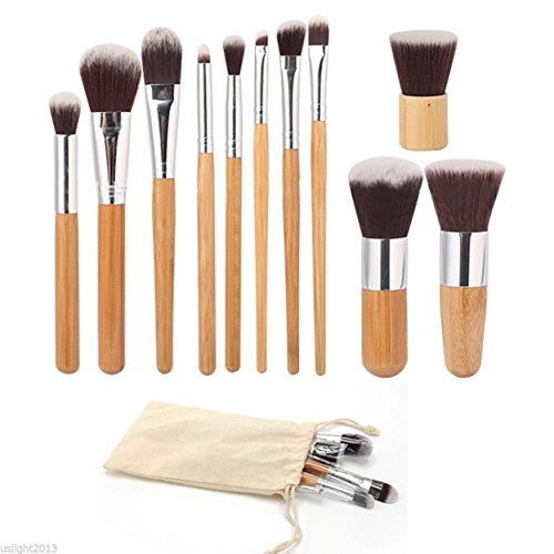 11 Pcs Bamboo Handle Makeup Brushes Set Eyeshadow Cosmetics Tools Foundation Natural Beauty Palette Vanity Spruce Popular Eyes Faced Colorful Rainbow Hair Highlights Glitter Girls Travel Kit